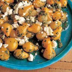 Sautéed Yellow Pear Tomatoes with Arugula Pesto and Feta | Almonds ...