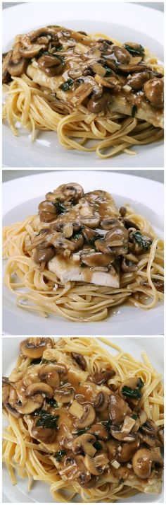 Chicken Marsala  RECIPE:  Servings: 2  1 chicken breast, butterflied, pounded and divided into 2 Flour Salt & Pepper 1 1/2 cup of slice mushrooms 1 cup of Marsala wine 2 Tbsp. of lemon juice 1 clove of minced garlic 1 Tbsp. of butter 1 Tbsp. of parsley  Butterfly, pound and divide one chicken breast into 2 pieces. Combine flour, salt and pepper, and dredge chicken breast in the seasoned flour. Dust off any excess. Fry the chicken in a little bit of oil on a hot skillet/pan. Fry 3 minutes…