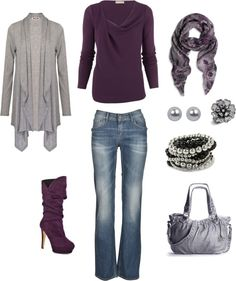 """Plum and grey"" by kristen-344 on Polyvore"