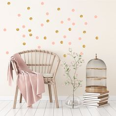 Pom Le Bon Homme Triangle wall transfers in Rose pink and gold Wall Transfers, Polka Dot Walls, Triangle Wall, Ideas Hogar, Wall Decor Stickers, Sticker Mural, Wall Decals, Stickers Design, Child Room