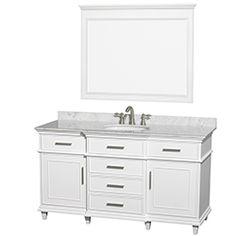 "60"" Berkeley Single Bathroom Vanity Set by Wyndham Collection - White #BathroomRemodel #BlondyBathHome #BathroomVanity #TransitionalVanity"