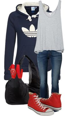Outfit idea to match with red converse                              …