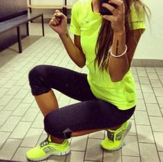 Cute workout outfit. i want it all the shirt, the leggings, the tennis shoes!!