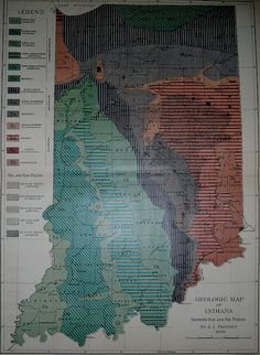 Indiana Map Gas and Oil Fields. Antique Geologic Map by AJ Phinney, Lithograph…