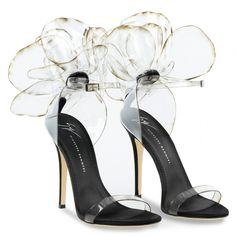 """These couture sandals are made from transparent vinyl with inserts in black satin and suede. They are adorned with the Peony """"Flower"""" application and set on a leather logo sole. Open Toe High Heels, Black High Heels, Cute Shoes, Me Too Shoes, Trendy Shoes, Women's Shoes Sandals, Shoe Boots, Black Sandals, Strappy Sandals"""