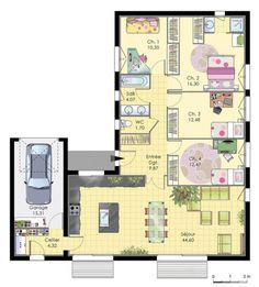 Maison de plainpied - Détail du plan de Maison de plainpied | Faire construire sa maison