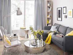 sectional, gray, yellow and chrome color scheme, living room interior design