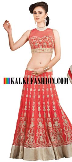Buy Online from the link below. We ship worldwide (Free Shipping over US$100) http://www.kalkifashion.com/lehenga-choli-in-orange-with-zari-embroidery.html Lehenga choli in orange with zari embroidery
