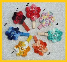 Zierklammer mit Häkelblüte*Freie Farbwahl* von Shop Kunterbunt auf DaWanda.com
