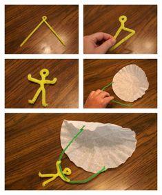 Great craft idea! coffee filter parachute guy