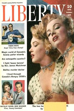 1960 October issue: Liberty (Canadian) magazine cover of Marilyn Monroe .... #normajeane #vintagemagazine #pinup #iconic #raremagazine #magazinecover #hollywoodactress #monroe #marilyn #1960s