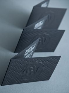 Embossed business cards are just one of the impressive details in this identity package.