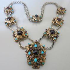 Antique Victorian Austro Hungarian Garnet Turquoise Necklace.