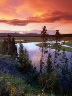 Yellowstone River Meandering Through Hayden Valley at Sunset, Yellowstone National Park, USA