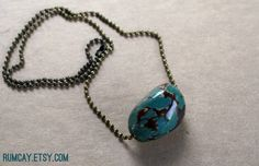 Teal Tagua Nut Necklace  vegetable ivory  Summer boho by RumCay