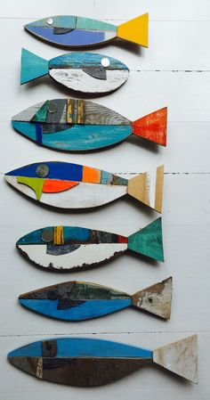 Pool Party : Painted Wood Fish Craft Activity : Could be done with cardboard and markers for the younger kids