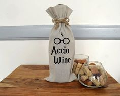 "Harry Potter ""Accio Wine"" Bag by slushieprints on etsy."