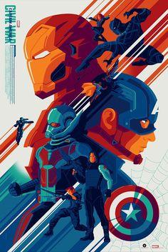 Grey Matter Art Exclusive Prints at NYCC 'Captain America: Civil War' (Variant Edition) by Tom Whalen Hero Marvel, Marvel Fan, Marvel Avengers, Marvel Movie Posters, Marvel Movies, Disney Posters, Comics Universe, Marvel Cinematic Universe, Tom Whalen
