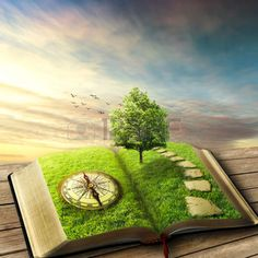 fantasy landscape: Illustration of magic opened book covered with grass, compass, tree and stoned way on woody floor, balcony. Fantasy world, imaginary view. Book, tree of life, right way concept. Original screensaver.