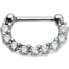 "16 Gauge 1/4"" Surgical Steel Clear CZ Septum Clicker #bodycandy #nosering #clicker"