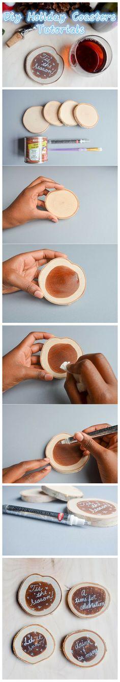 Man muss nicht immer mit Lötkolben in Holzscheiben brennen :-) DIY Holiday Coasters Tutorials
