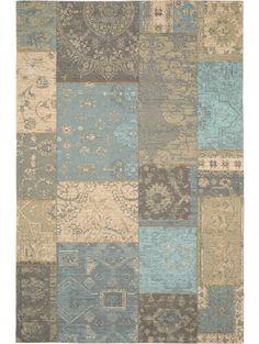 Flachgewebe Teppich Frencie Patchwork Braun 120x180 cm