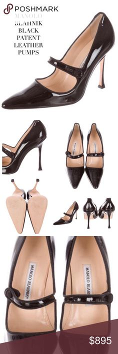 """MANOLO BLAHNIK BLACK MARY JANE PATENT HEELS Manolo Blahnik black patent leather classic pointed-toe pumps with covered stiletto heels and button closures at ankle straps. Mary Jane. Material: Black Patent Leather. Minimal wear/light scratches-see pics. Approx Measurements: Heels 4.25"""". FYI: Manolo Blahnik does run usually a half size smaller than other designers. Size: 9.5 IT39.5. Includes dust bag Manolo Blahnik Shoes Heels"""