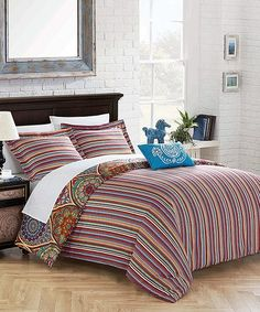Look at this #zulilyfind! Red & Blue Farley Four-Piece Reversible Duvet Cover Set #zulilyfinds