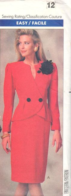 Love the neckline on this Vintage 80s suit pattern.   Butterick 6959 just added to my Etsy store, EXTREMESEWINGDIVA,  where reasonable International shipping offered.   You can wear this suit to work or a wedding, and it will surely get you noticed! https://www.etsy.com/listing/227568690/butterick-6959-sz-12bust-34-easy-double