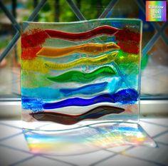 Rainbow Wave Curve Panel Bowl Dish Fused Glass by RainbowLuxGlass