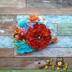 Baby Girl Hat Merino WoolSilk FlowerGirlPinkAqua by Doodlebopperz, $20.00