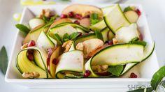 Light and healthy raw zucchini, apple and walnut salad