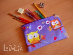 Purple Pencil case / Cosmetic bag RainbOWLS by lovelia on Etsy