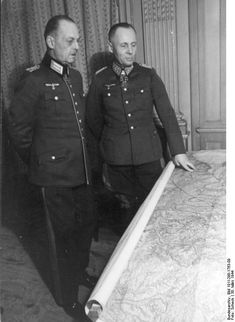 Northern France, Canteleu - Marshals Gerd von Rundstedt and Erwin Rommel in the headquarters of the LXXXI Army Corps standing in front of a map; Luftwaffe, Erwin Rommel, Field Marshal, Germany Ww2, Afrika Korps, The Third Reich, German Army, Panzer, Military History