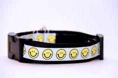 Adjustable Dog CollarSmiley Face by HandmadeInTheHammer on Etsy, $15.00