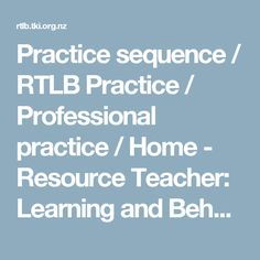 Practice sequence / RTLB Practice / Professional practice / Home - Resource Teacher: Learning and Behaviour - given as a resource within my cluster Useful reference for me professionally, and to share with teachers and schools if they have questions. Resource Teacher, Teacher Resources, This Or That Questions, Behavior, Learning, Schools, Students, Behance
