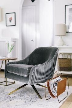 gray velvet lounge chair