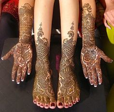 Duhlan Mehndi Arms and Legs Long Design with Ganesha and elephant Detail