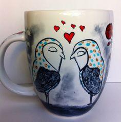 Hearts and Owls - Love Mug on Etsy, $30.00