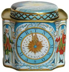 Fortnum & Mason Millennium Tea tea tin, decorated with clock face with hands nearing midnight, flanked by doormen in Georgian dress, taken from the London department store's iconic clock, c. 1999-2000, UK