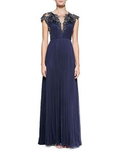 T8GVX Catherine Deane Cap-Sleeve Beaded Front & Back Bodice Gown