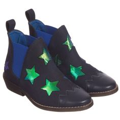 Stella McCartney Kids Girls Navy Blue Shimmer Star 'Lily' Boots at Childrensalon.com