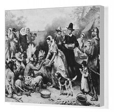 Canvas Print featuring Illustration depicting the Pilgrims serving food to American Indians at the first Thanksgiving dinner in 1621. Prints from $129.99