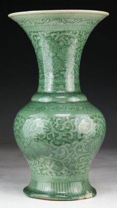 Chinese Antique Celadon Glazed Porcelain Vase: of compressed globular form rising to a flared rim, of Qing Dynasty; Size: H: 12-1/2""