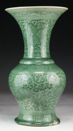 "Chinese Antique Celadon Glazed Porcelain Vase: of compressed globular form rising to a flared rim, of Qing Dynasty; Size: H: 12-1/2"""
