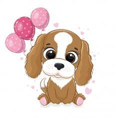 Cute Animal Clipart, Cute Clipart, Happy Birthday Dog, Happy Birthday Greeting Card, Cute Dog Cartoon, Birthday Cartoon, Baby Clip Art, Paw Patrol Birthday, Cute Bears