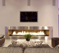 Decorating Modern Rectangle Gas Fire Pit Living Room Fireplace Feature Stainless Frame And Wall Mounted Fascinating Led Tv