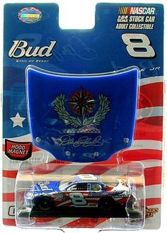 """Dale Earnhardt Jr. #8 Budweiser 2007 Exclusive SOWF Stars & Stripes 1:64 Diecast Car by Motorsports Authentics, Inc.. $10.95. Adult Collectible 1:64 Scale Diecast Car. Wal-Mart Exclusive. 2007 """"Special Operations Warrior Foundation"""" 4th of July STAR & STRIPES Paint Scheme. Special Limited Edition Packaging. Highly Detailed Tampo-Printed Graphics. Anheuser-Busch has supported the military for more than 150 years, and Budweiser continues that tradition in 2007 with t..."""