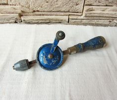 Vintage Hand Drill Blue Manual Hand Drill Rust Tools Woodworking Crafts Man Rustic Home Metal Wood Carpenters Drill Primitive  Farm Tools by ANTIQUEcountry on Etsy