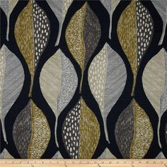 Grey, Tan and Black Leaf Pillow Cover in Robert Allen Home Woodblock Leaf Indigo Fabric
